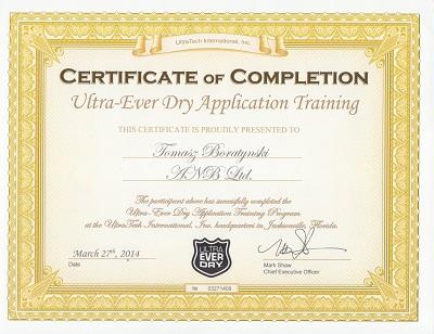 UltraEverDry certyfikat